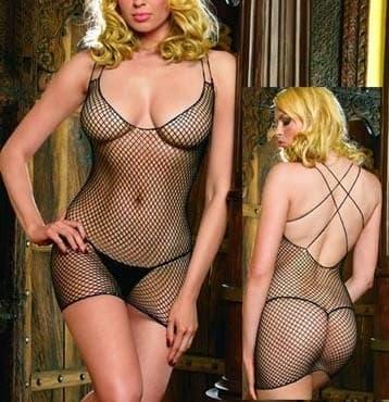 Мини-платье в сеточку с открытой спинкой - фото 10339