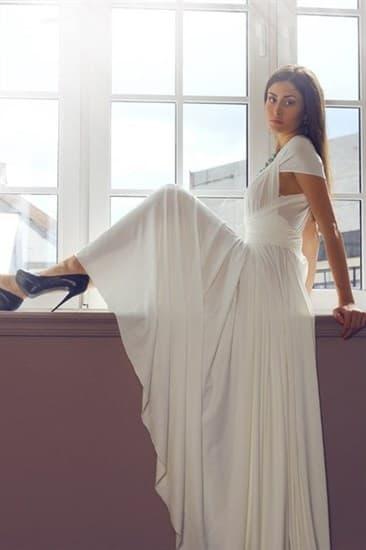 Платье трансформер из белого масла. Юбка полусолнце с разрезом - фото 10416