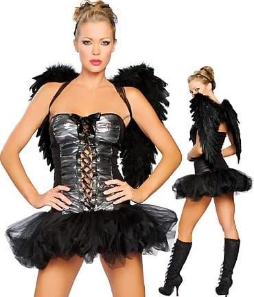 Маскарадный костюм падшего ангела с пышной юбкой и шнуровкой спереди - фото 7786