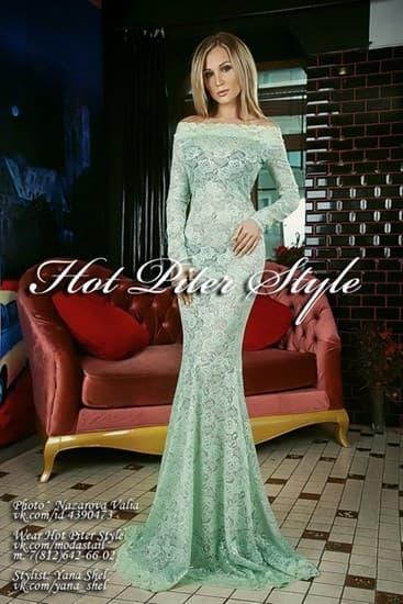 Кружевное прозрачное платье минт - фото 7790