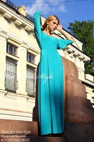 Бирюзовое платье с запахом. - фото 7794