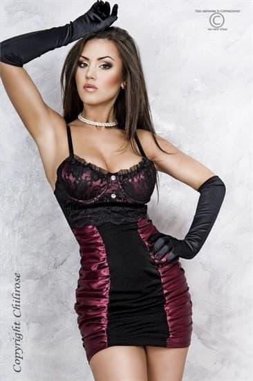 Мини платье с лиловым атласом - фото 7806