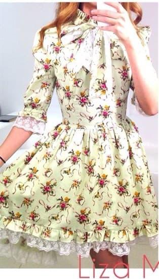 Нежно-зеленое платье со шлейфом - фото 7823