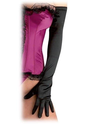 Длинные черные атласные перчатки - фото 7892