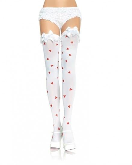 Белые мягкие чулочки в красное сердечко с белым атласным бантом - фото 7904