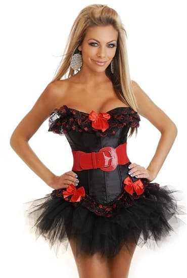 Черный мягкий корсет с красным кружевом и подвязками - фото 7994