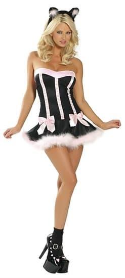 Эротический костюм кошки черное платье с розовым мехом - фото 8031