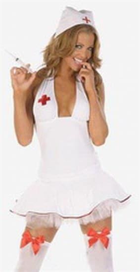 Белая медсестра с открытой спиной - фото 8032