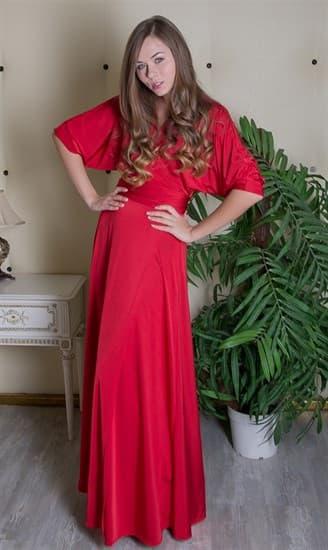 """Красное длинное платье халат """"летучая мышь"""" - фото 8041"""