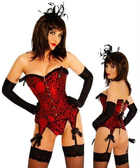 Жаккардовый красный корсет с подвязками для юбки - фото 8143