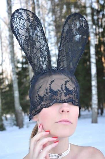 Кружевные ушки длинные с маской - фото 8168