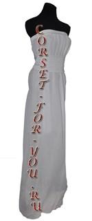 Платье в греческом стиле из белого шифона с белым поясом