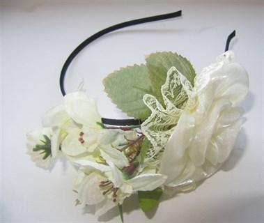 Белые цветы на ободке Handmade 2407