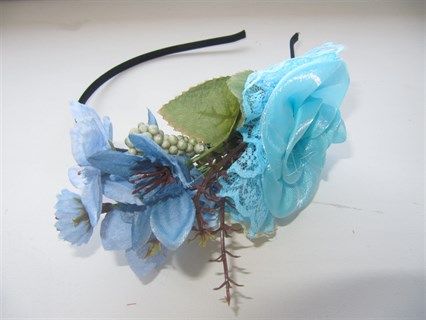 Голубые цветы на ободке Handmade 2409