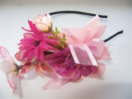 Розовые цветы на ободке Handmade 2410