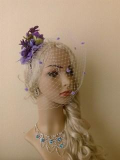Фиолетовые цветы на ободке Handmade 2408