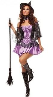 Карнавальный костюм ведьмы. Фиолетовой платье с многослойной юбкой