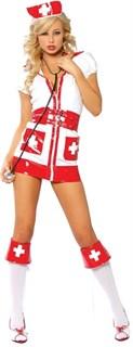 Игровой костюм медсестры, отдекорирован красными лакированными вставками