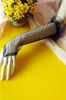 Длинные прозрачные черные перчатки на палец
