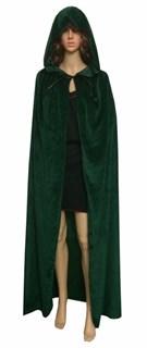 Темно-зеленый широкий плащ с капюшоном