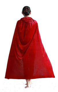 Красный велюровый плащ. 150 см