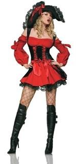 Карнавальный костюм пиратки. Красное платье с черным велюром