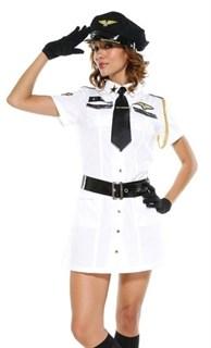 Карнавальный костюм стюардессы - белое платье и фуражка