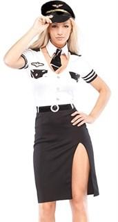 Костюм главной помощницы пилота: платье с разрезом
