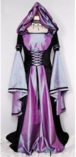 Сиреневое длинное платье с капюшоном