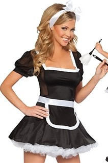 Игровой костюм горничной - короткое платье с широкой шнуровкой на спине