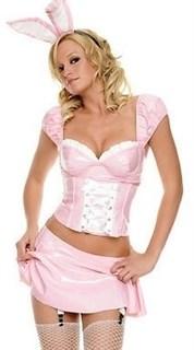 Виниловый розовый зайчик с юбкой и подвязками