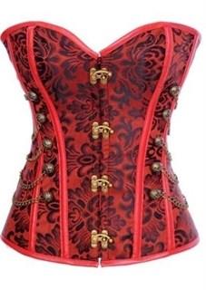 Красный жаккардовый корсет на красивых крючках
