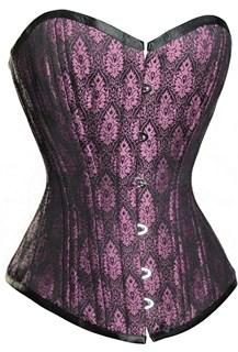 Фиолетово-розовый корсет из парчи