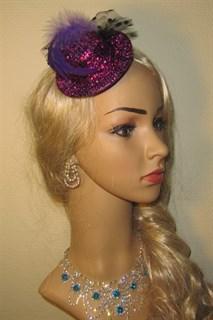 Шляпка-цилиндр фиолетовый блестящий