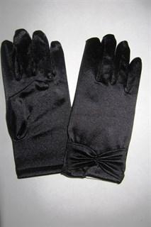 Короткие атласные детские перчатки. 3-7 лет. Черные