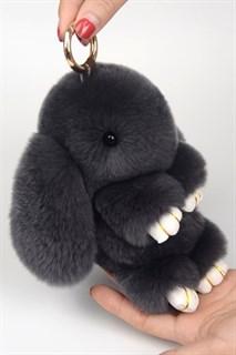 22см. Темно-серый. Брелок зайка (кролик) из натурального меха