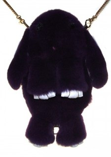 Сумка рюкзак зайка (кролик) из натурального меха. Черный