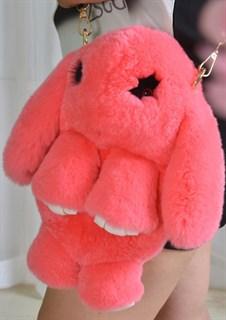 Сумка рюкзак зайка (кролик) из натурального меха. Коралл