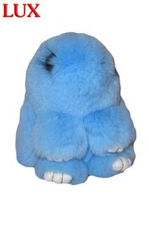 Люкс 18 см. Голубой. Брелок зайка (кролик) из натурального меха с ресничками