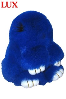 Люкс 18 см. Синий. Брелок зайка (кролик) из натурального меха с ресницами