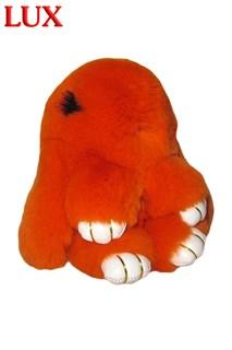 Люкс 18 см. Оранжевый. Брелок зайка (кролик) из натурального меха с ресницами