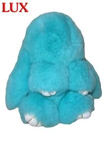 Люкс 18 см. Бирюза. Брелок зайка (кролик) из натурального меха с ресничками