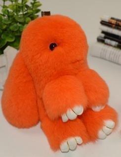 22см. Оранжевый. Брелок зайка (кролик) из натурального меха