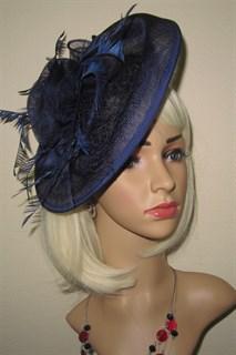 Большая плетеная шляпка на заколке Диана. Темно-синяя