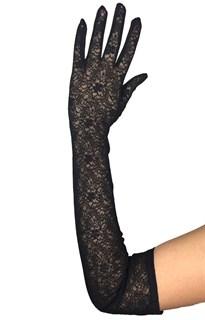 Длинные перчатки из трикотажа с плотным кружевом