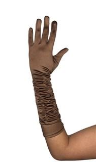 Коричневые атласные перчатки со сборкой до локтя