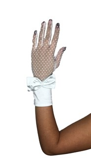 Перчатки сетка с бантом. Белые