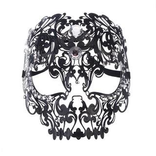 Металлическая черная маска Череп без страз