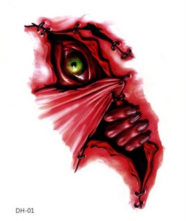 Переводное тату на Хэллоуин глаз и сердце