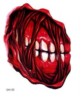 Переводное 3D тату на Хэллоуин. Челюсть с зубами и порезы